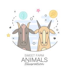 Animal set of portrait in flat graphics vector