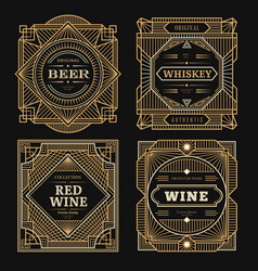 Art deco labels vintage alcohol labels framed vector