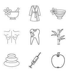 backwash icons set outline style vector image