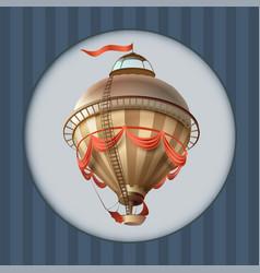 Balloon retro blimp ship with flag greeting card vector