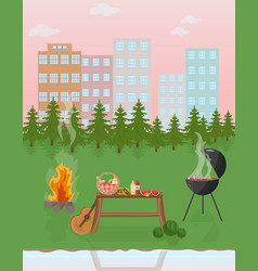 Barbecue picnic in the park green nature vector