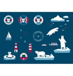 Bears set on navy blue background vector