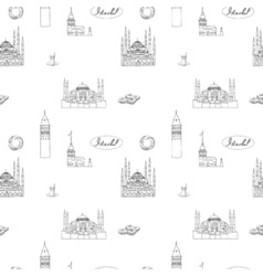 Black and white Istanbul tourist print seamless vector