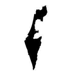 Black silhouette country borders map of israel on vector
