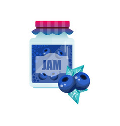 Blueberry jam glass jar of berry confiture vector