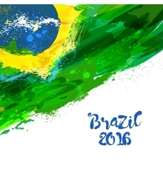 Brazilian watercolor flag vector