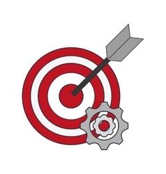 Bullseye and gears icon vector