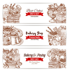 Cakes sketch banner for bakery and pastry design vector