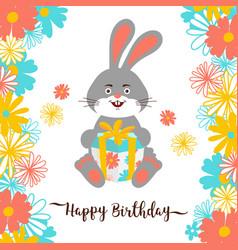 cartoon bunny happy birthday greeting card cute vector image