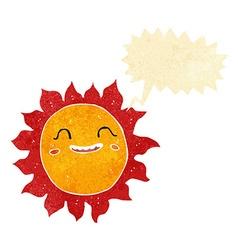 Cartoon happy sun with speech bubble vector