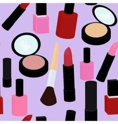 cartoon pink and red nail polish lipstick vector image