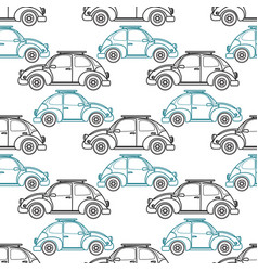 cartoon retro car seamless pattern vector image