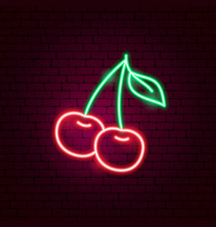 Cherry neon sign vector