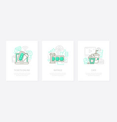 cinema concept - line design style banners vector image