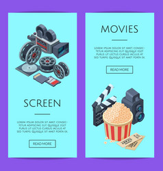 Cinematograph isometric web banner vector