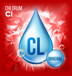 cl chlorum mineral blue drop icon vitamin vector image