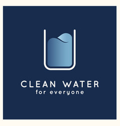clean water logo glass water on blue vector image