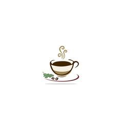 coffee cup organic drink logo vector image