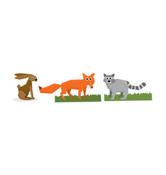 collection of cute geometric animals hare fox vector image