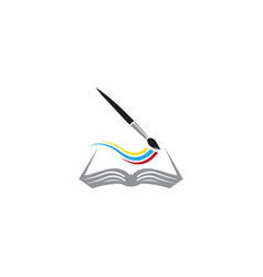 Coloring book brush painting colors logo vector