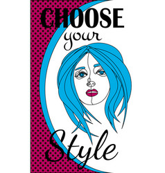 Contour drawing blue-haired girl text choose your vector