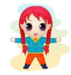 Cute anime chibi little girl Simple cartoon style vector image
