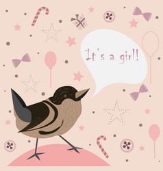 Cute bird congratulates parents with birth of a vector