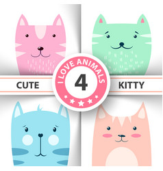 cute funny kitty cat characters vector image
