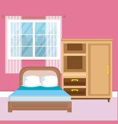 Elegant bedroom scene classic vector