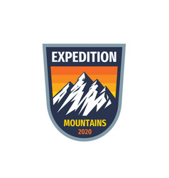 expedition mountains - concept badge vector image