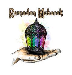 fanus lantern muslim holiday holy month of vector image