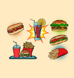 fast food set collection hot dog burger cola vector image