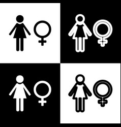 female sign black and white vector image