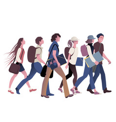 gang of teenage students going back to school vector image