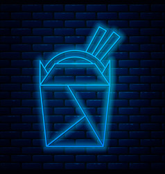 glowing neon line asian noodles in paper box vector image