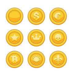 gold coins icon set on white background vector image