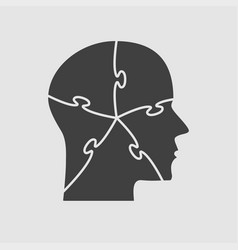 grey puzzle piece silhouette head - jigsaw vector image