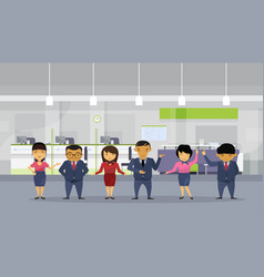 Group of asian business people wearing suits in vector