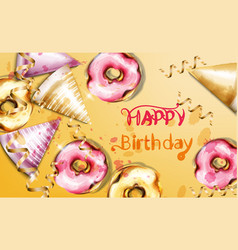 happy birthday card watercolor birthday vector image