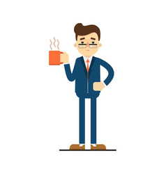 Happy businessman hold cup of coffee vector