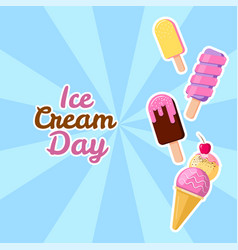 Happy ice cream day suitable vector