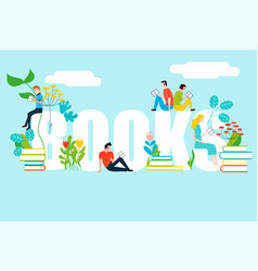 happy people reading on books text - colorful vector image