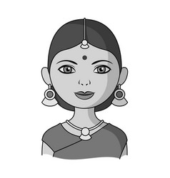 Hindu womanhuman race single icon in monochrome vector