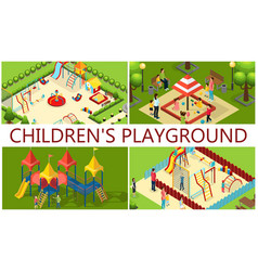 isometric kids playground composition vector image
