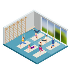 Isometric sporty young women doing yoga yoga vector
