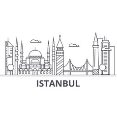 istanbul architecture line skyline vector image