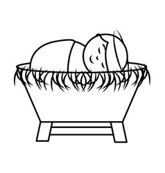 Jesus baby on straw cradle manger character vector