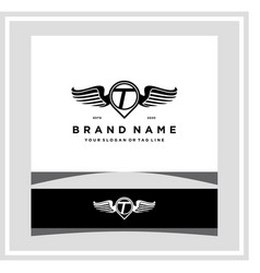 Letter t pin map wing logo design concept vector