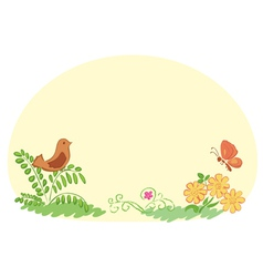light yellow background with flora and fauna vector image