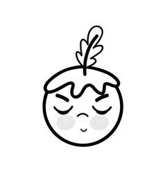 Line kawaii angry tomato vegetable icon vector